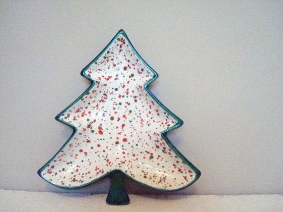 Vintage Ceramic Christmas Tree Dish