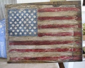 American Flag Hand Carved Wood Distressed American Flag