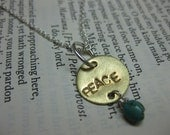 Peace - Hand stamped brass disc necklace