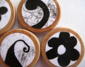 Wooden Button Magnet Set of 6 - Black Swirls and Flowers