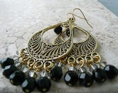 Gold Chandelier Earrings with Black and Grey Swarovski Crystals