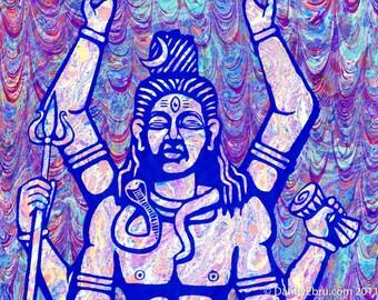 """Sri Shiva Ebru - 8.5""""x11"""" giclee print"""