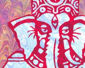 """Ganesha Ebru 8""""x10"""" Giclee Print"""