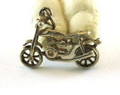 Vintage Motorcycle Sterling Silver Charm Or Pendant