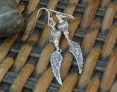Angel Wing all silver Earrings