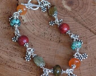 Multi Stone flower bracelet