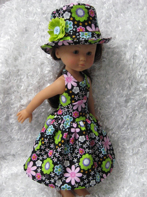 Bright Flowers Dress and Hat for Hearts for Hearts Girls, Corolle Les Cheries or Groovy Girl dolls
