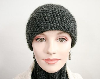 Warm Winter Hat - Hand Knit Cap in Seedy and Twisted Design Grey Heather- Item 1054