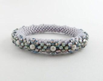 Bead Crochet Blossom Bangle Lavender Blue and Aqua - Item 1202