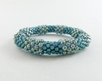 Bead Crochet Bangle in Shimmering Turquoise - Item 1037a