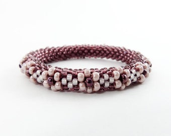 Bead Crochet Blossom Bangle Berry and Peach - Item 1213c