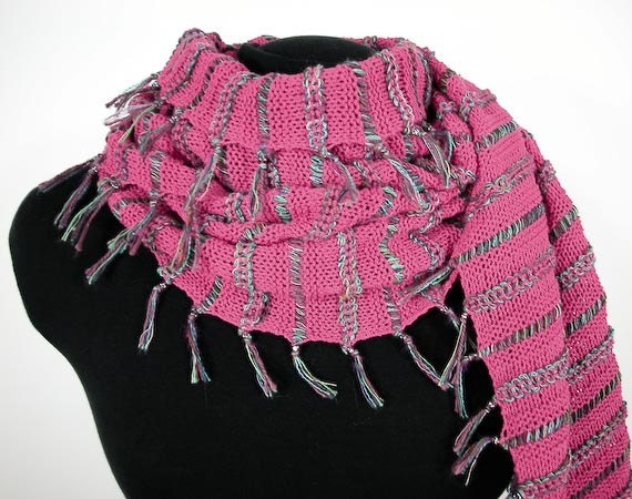 Knit Shawl /Wrap OOAK - Fiesta in Pink Mimosa & Turquoise - Item 1134