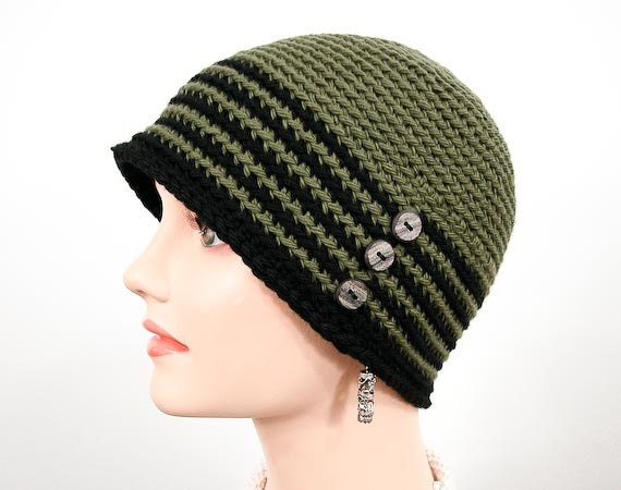 "Crochet Cloche - Crochet Hat ""Ms. Gish""  in Olive and Black - Item 1158"