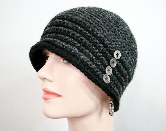 Ms. Gish Crochet Cloche in Charcoal and Black - Item 1168