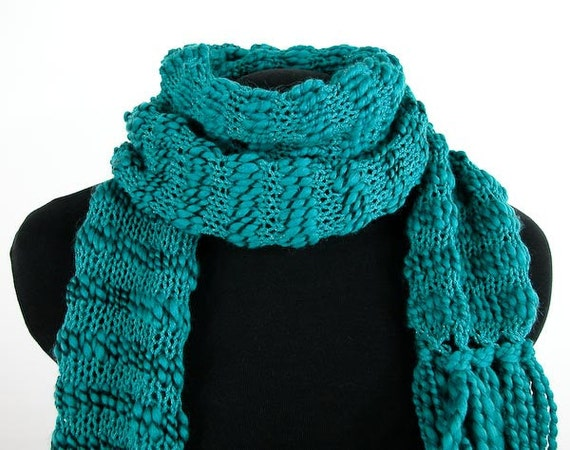 Reserved for Colleen: Skinny Hand-Knit Scarf in Acrylic Yarn and Handspun Wool in Teal Blue & Black - Item 1104