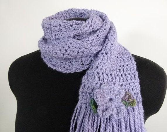 Crocheted Flower Scarf - Lavender Handspun Wool Scarf - Item 944