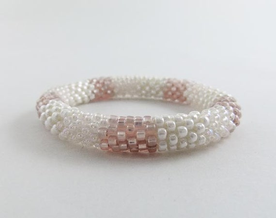 Bead Crochet Bangle in Creamy Ivory, Oyster & Rose Beige  - Item 1217a
