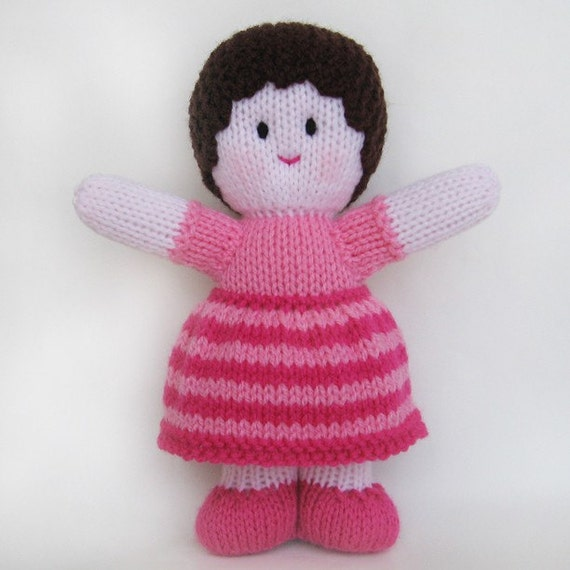 "KNITTED DOLL - ""Peony"" - Baby Buddy with pink skin tone"