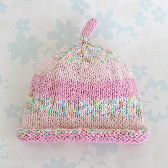 """PREMATURE GIRL HAT - 3 to 7.5 lbs / 30 to 42 weeks size - (pink cotton yarn) - suitable for """"Kangaroo Care"""""""
