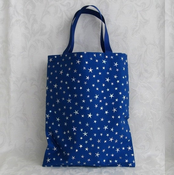 "GIFT BAG - blue cotton fabric with shiny silver stars and blue handles - for knitted ""Buddy"" dolls or party loot bag"