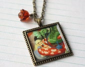 Alice and the Caterpillar wearable art pendant by Lisa Falzon
