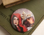 Red and the Wolf - Secret Lovers - Pocket Art Mirror