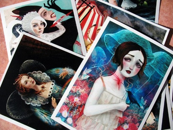 She - A themed Mini Print set collection of 10 by Lisa Falzon