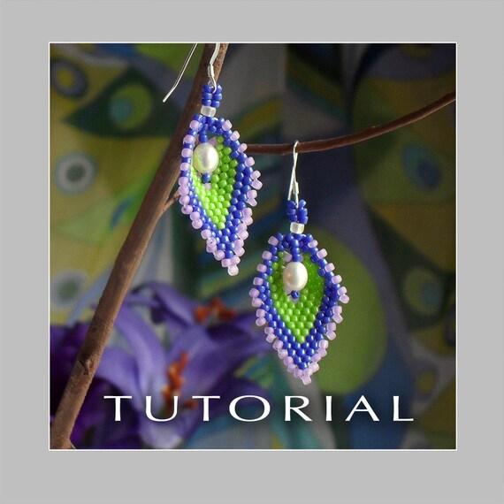Beading Tutorial : Russian Leaf Pearl Earrings Tutorial - Instant Download