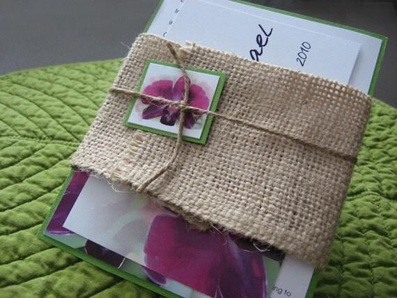 Custom Hawaiian Tropical Burlap Orchid Beach Destination Wedding Invitation - Custom order for Tiye Ray