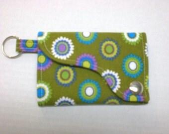 Tri-fold Credit Card / Business Card Holder/ Keyfob  made w/Designer fabric Pretty Bird in Moss
