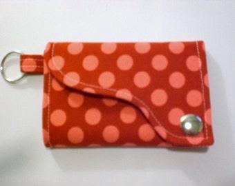 Tri-fold Credit Card / Business Card Holder/ Keyfob  made w/Designer fabric Ta Dot in Geranium