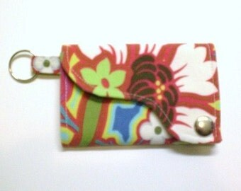 Tri-fold Credit Card / Business Card Holder/ Wallet/ Keyfob made w/ Designer fabric Disco Flower in Hot Pink
