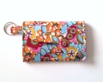 Tri-fold Credit Card / Business Card Holder/ Keyfob  made w/ Designer fabric Innocent Crush First Impression in Fruit