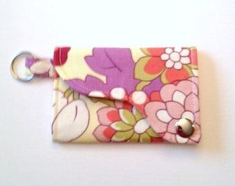 Tri-fold Credit Card / Business Card Holder/ Wallet/ Keyfob made w/ Designer fabric Cutting Garden in linen