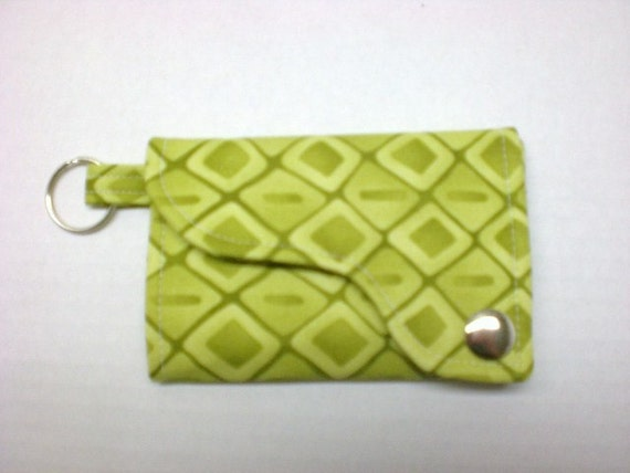 Tri-fold Credit Card / Business Card Holder/ Wallet/ Keyfob  made w/ Designer fabric Solace in Moss