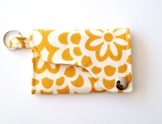 Tri-fold Credit Card / Business Card Holder/ Keyfob  made w/ Designer fabric Wall Flower in Mustard