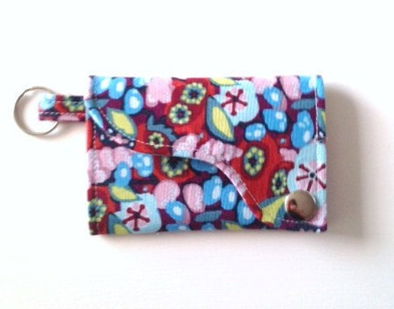 Tri-fold Credit Card / Business Card Holder/ Keyfob  made w/ Designer fabric Fabric  Innocent Crush  First impression in Potpourri