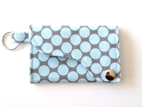 Tri-fold Credit Card / Business Card Holder/ Wallet/ Keyfob  made w/ Designer fabric Full moon polka dot in Slate
