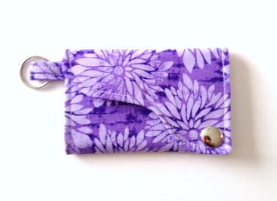 Tri-fold Credit Card / Business Card Holder/ Keyfob  made w/ Designer fabric Fabric Dahlia in Purple