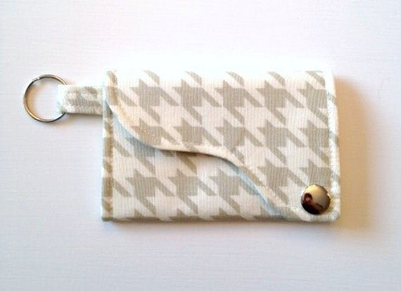 Tri-fold Credit Card / Business Card Holder/ Wallet/ Keyfob made w/ Designer fabric Houndstooth in Pebble