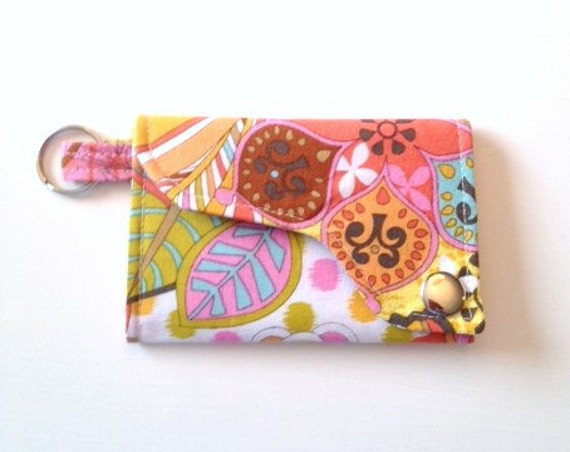Tri-fold Credit Card / Business Card Holder/ Keyfob  made w/ Designer fabric Spa Floral in Coral