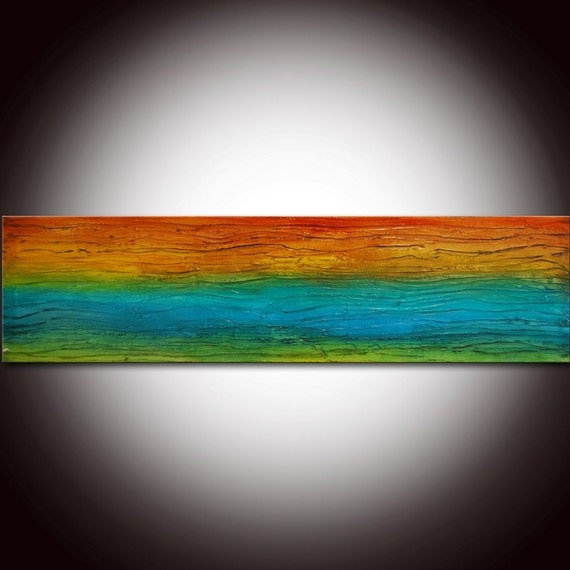 Large ORIGINAL Abstract Contemporary Textured Modern Colorful Painting by Andrada - 48x12 -Certificate of Authenticity