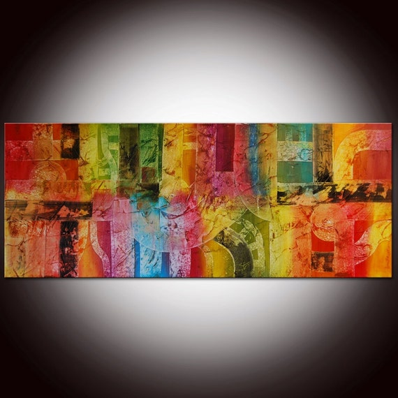 Large Contemporary Original Abstract  Painting by Andrada - 60x24