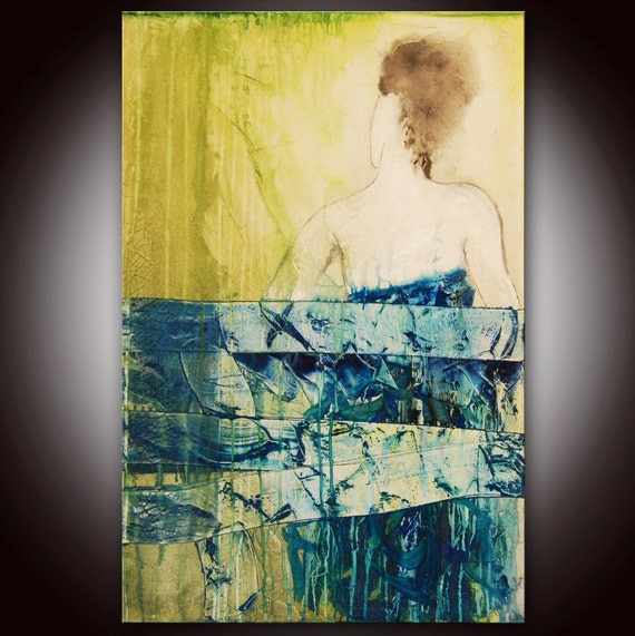 Large Original Abstract Woman Figure Mixed Media Painting by Andrada -- 24x36