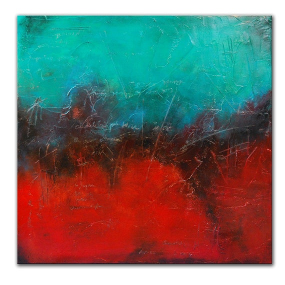 Abstract Red Painting Original Modern Textured  Canvas Acrylic Teal Red Fine Art 36x36 Heavy Textured