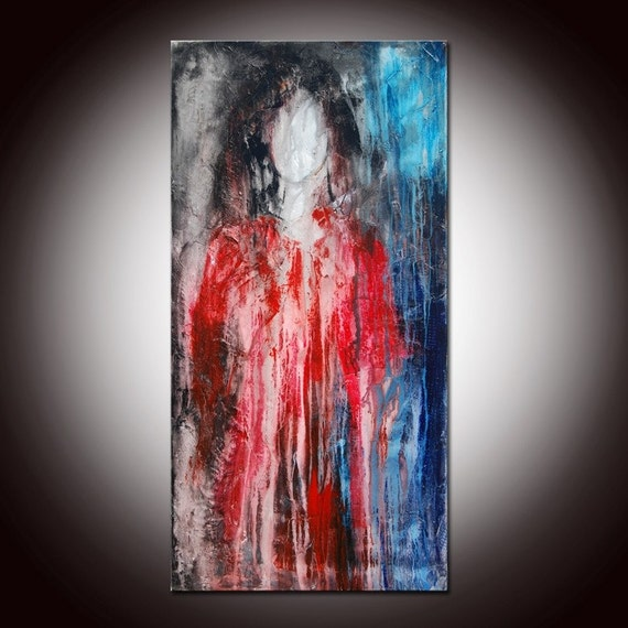 RESERVED FOR WENDY -  RED DRESS  (48x24) HUGE ABSTRACT ORIGINAL PAINTING WITH CERTIFICATE OF AUTHENTICITY- SEE THE CLOSE UPS