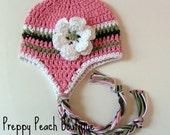 Crochet Baby Hat, Photography Prop, Newborn to 3 Months - Pink, Sage, Brown, White, Baby Girl Flower Hat, Photographer Prop