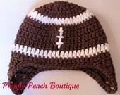 POPULAR Crochet Baby Hats, Baby Boy Hats, Football Earflap Hat, Photography Prop, Newborn to 3 Months, Brown Hat - Photographer Prop