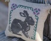 Cross Stitch Ornament Rabbit & Flowers