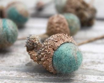 Wool Swamp Oak Acorns in a Marbled Sage, Beige, & Blue
